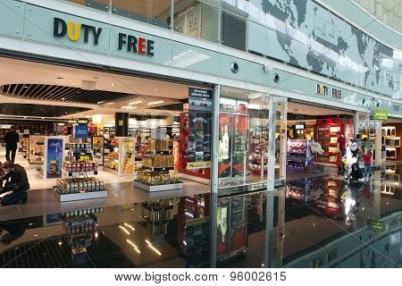 BARCELONA SPAIN - MAY 11: Duty Free Shop in the airport on May 10 2010 Barcelona Spain