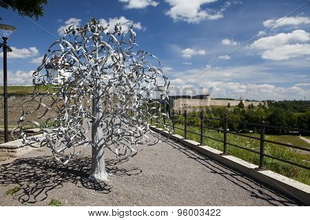 Wedding tree. Narva Estonia. The wedding day attach leaflets with the names.