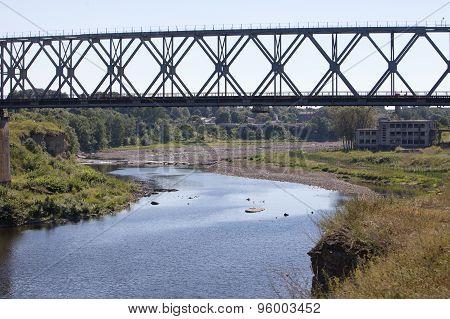 the railway bridge through the river Narva. Estonia