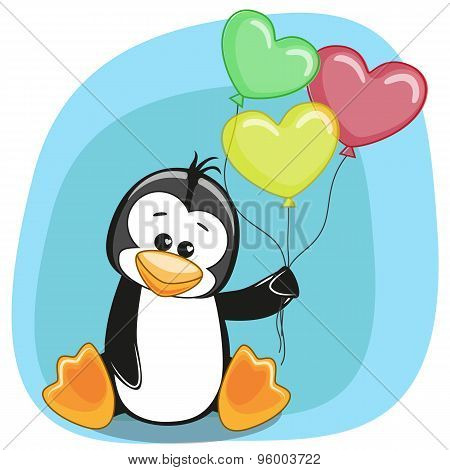 Penguin With Balloons