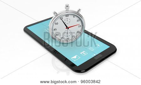 Silver chronometer on tablet screen, isolated on white