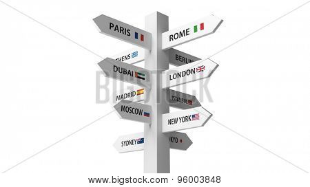 White signpost with various city names isolated on white background