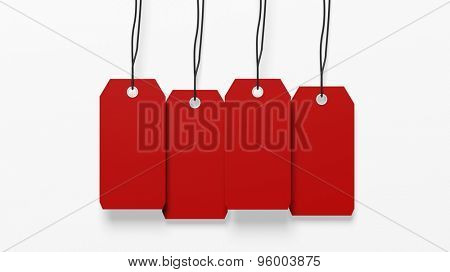 Red blank hanging tags isolated on white background