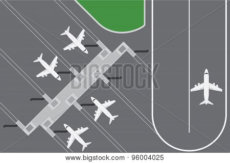 Flat Design Vector Illustration Of Airport Buildingwith Plans Terminal With Runway