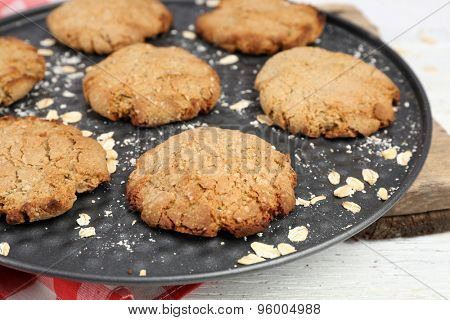 Homemade cookies on pan close up