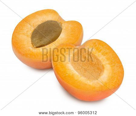 Two fresh slices apricot