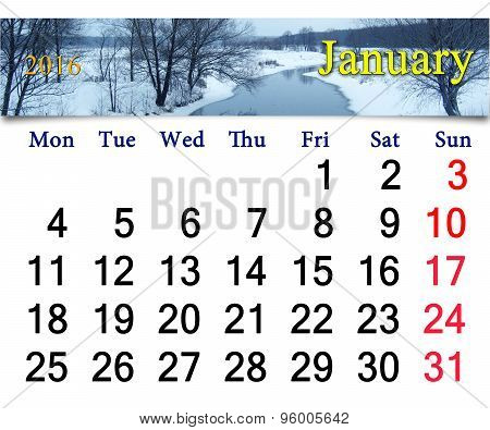 Calendar For January 2016 With Winter River