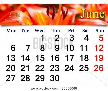 Calendar For June 2016 With Red Lilies