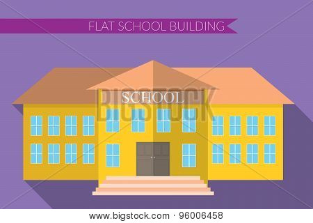 Flat Design Modern Vector Illustration Of School Building Icon Set, With Long Shadow On Color Backgr
