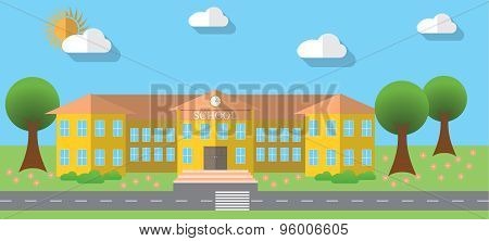 Flat Design Vector Illustration Of School Building In Flat Design Style, Vector Illustration