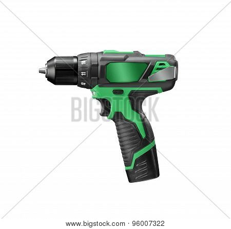 Green electric drill screwdriver