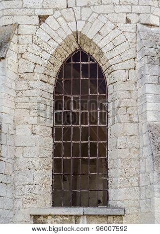 Broken Window Of The Old Church
