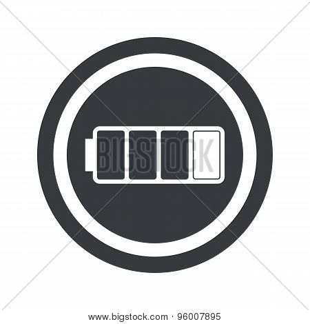 Round black low battery sign