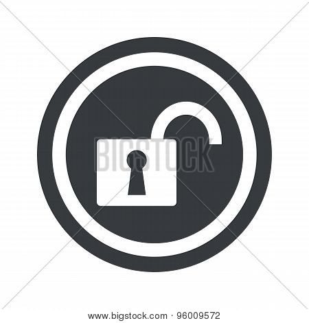 Round black unlocked sign