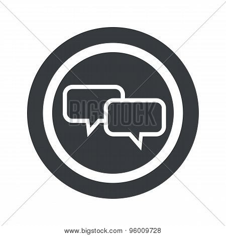 Round black chat sign