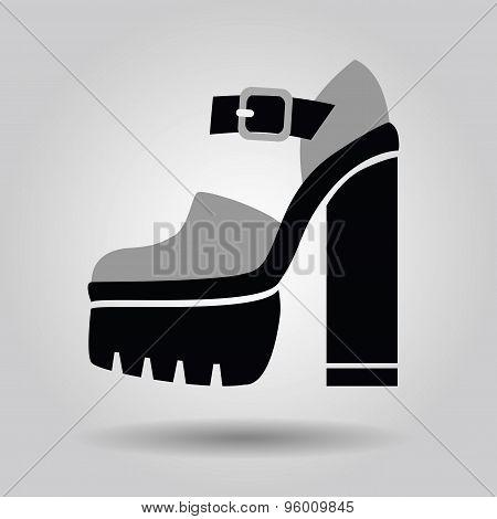 Single women platform high heel icon on gray gradient background