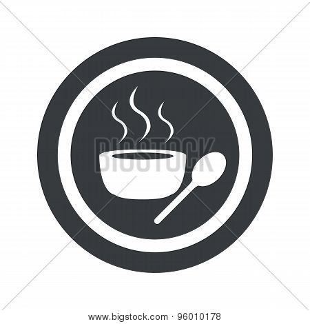 Round black hot soup sign