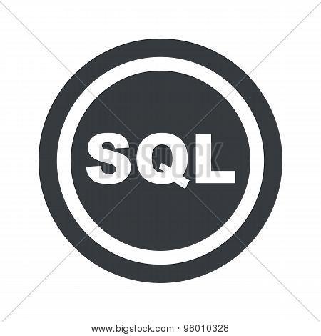 Round black SQL sign