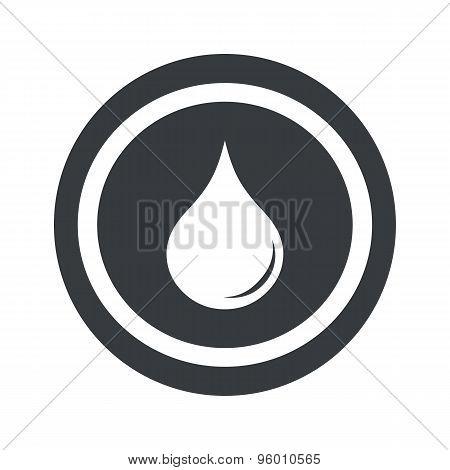 Round black water drop sign