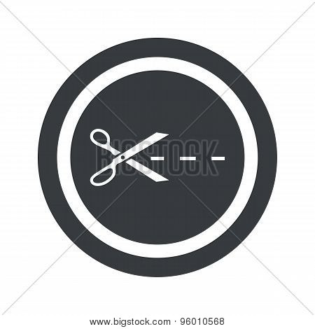 Round black cut sign