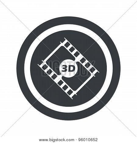 Round black 3D movie sign