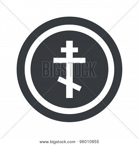 Round black orthodox cross sign