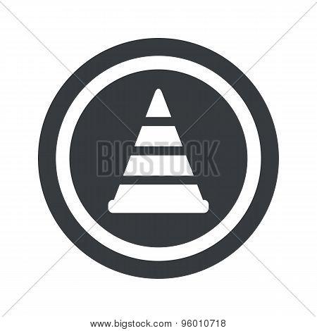 Round black traffic cone sign