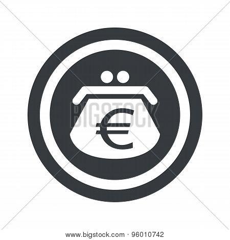 Round black euro purse sign
