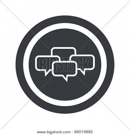 Round black chat conference sign