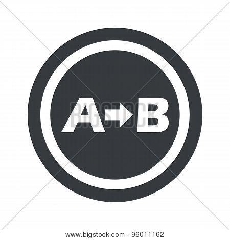 Round black A B sign