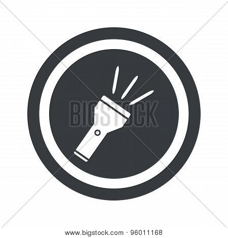 Round black flashlight sign