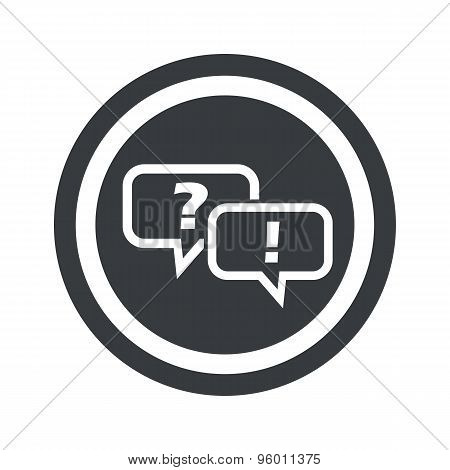 Round black question answer sign