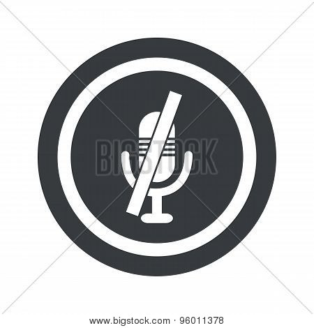Round black muted microphone sign