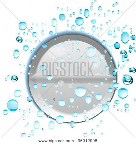 Effervescent tablet in water with bubbles