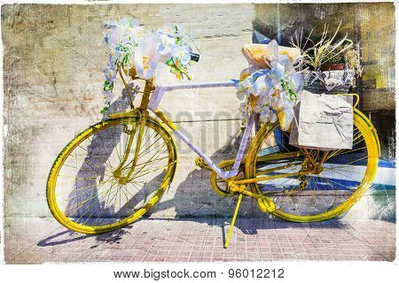 vintage bikes street decoration, artistic picture