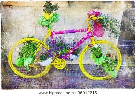 vintage bikes street decoration, artistic picture
