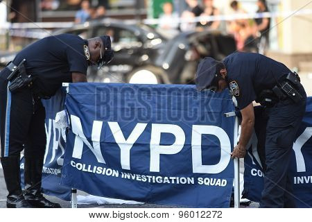 NYPD traffic officers set up barrier