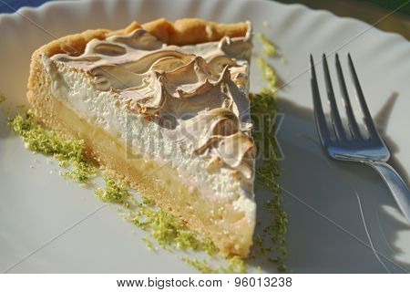 Slice of lime cake on white plate