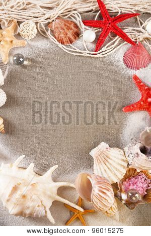 Collection of seashells with sand on sackcloth background