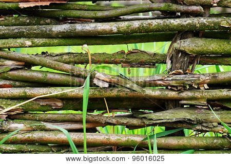 Wicker rustic fence  background