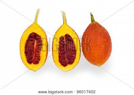 Gac fruit,on white ba