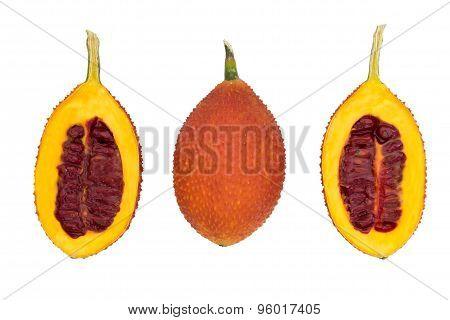 Gac fruit, Spiny Bitter Gourd, S isolated on white ba