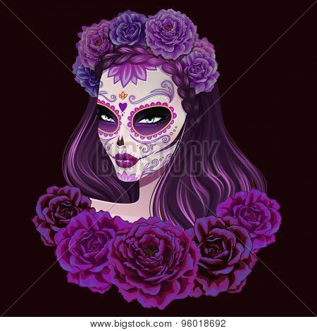 Beautiful sugar skull woman illustration. Day of dead vector illustration.