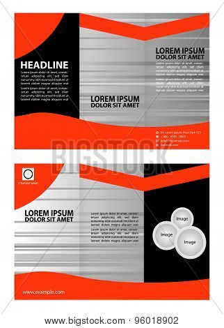 Orange brochure tri fold template