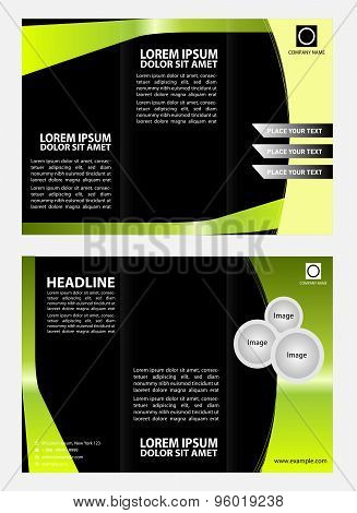 Green black brochure tri fold template