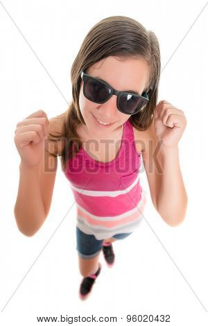 Trendy teenage girl smiling and raising her arms , fisheye portrait isolated on white