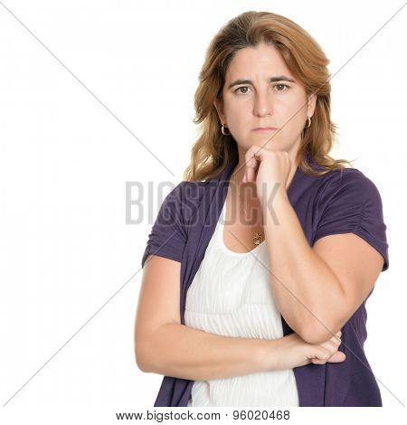 Worried and sad woman isolated on a white background