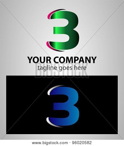 Number three 3 logo icon design template elements