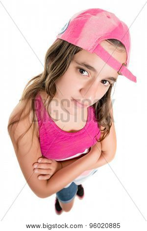 Teenage girl with an attitude wearing a baseball cap, fisheye portrait isolated on white