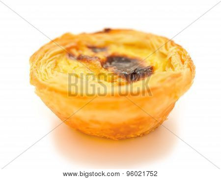 Single Portuguese Egg Tart On A White Background